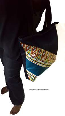 Blue Multi color Denim Ankara Handbag image 1