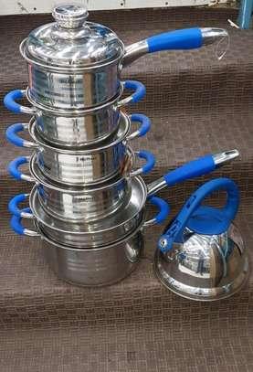 6 piece Stainless Steel heavy duty cooka dn serve pots image 1