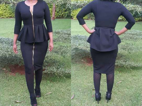 Front Zip Pencil Skirt and Peplum Top Suit image 2