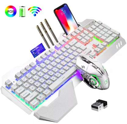 Wireless Mechanical Backlit RGB Gaming Keyboard and Mouse Combo with free mousepad {680} image 1