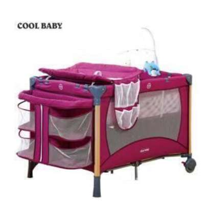 Baby Playpen Bed Baby Crib With Changing Table And Overhead Toys image 1