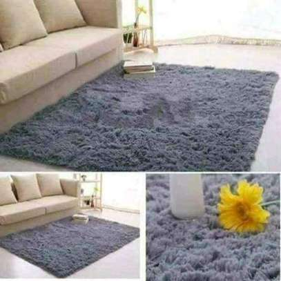 Gray fluffy carpets