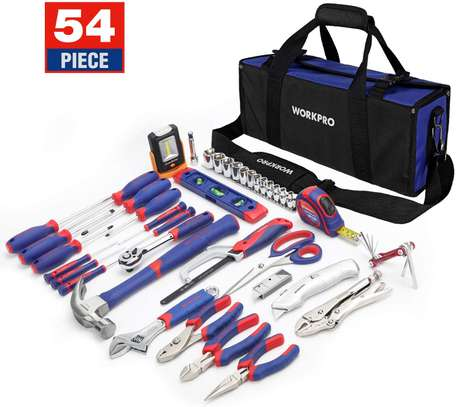 WORKPRO 54-Piece Home Repair Hand Tool Set Basic Household Tool Kit with Portable Bag Perfect for DIY and Home Maintenance Including 3AAA COB Work Light image 1