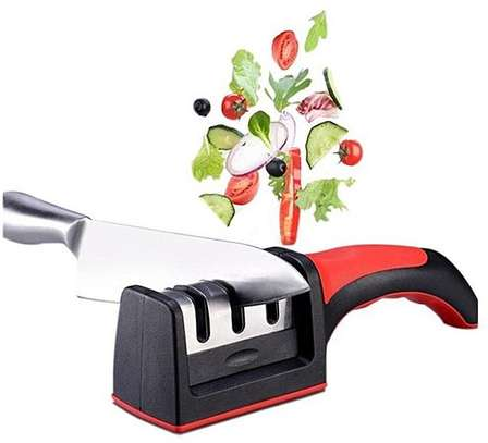 Generic Handled 3 Stages Knife Sharpener Hard Carbide Shapener-Red And Black