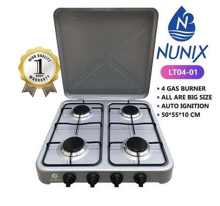 Nunix 4 Gas Burner Table Top Cooker Silver image 1