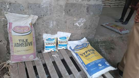 Tile adhesive,  grout and gypsum