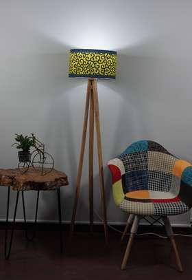Wooden Tripod Floor Lampshade image 1