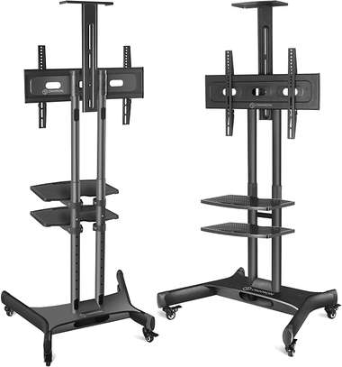 """ONKRON Mobile TV Stand TV Cart with Wheels & 2 AV Shelves for 32"""" – 65 inch LCD LED OLED Flat Panel Plasma Screens up to 100 lbs Black TS1552 image 1"""