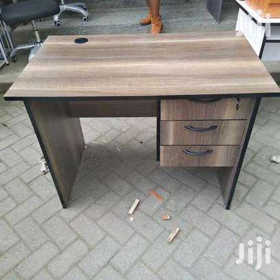 Walnut office desk with drawers image 1