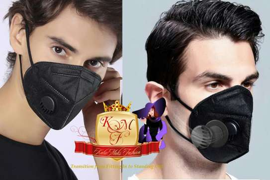 Reusable KN95 Black Mask With Breathing Valve