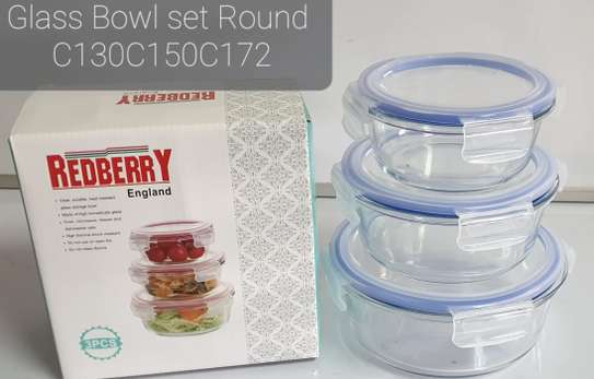 3pc Glass Bowls with Lids