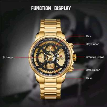 Men Fashion Luxury Quartz Wristwatch Male Casual Waterproof Clock Gold Watch image 3