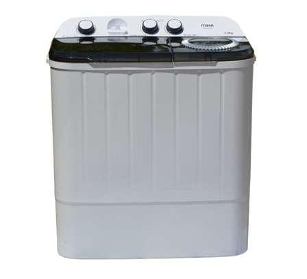 Washing Machine, Semi-Automatic Top Load, Twin Tub, 6Kg, White & Grey image 1