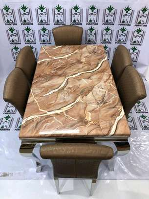 Marble dining set 1+6 seater image 2