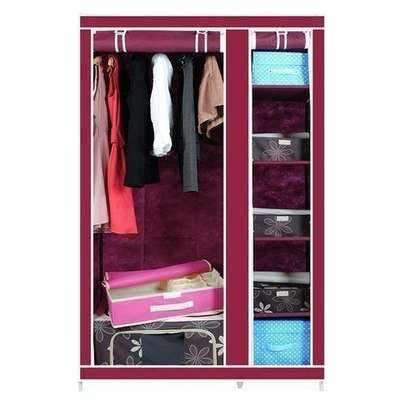 Frame Portable Wardrobe -2 Columns- Wine Red image 1