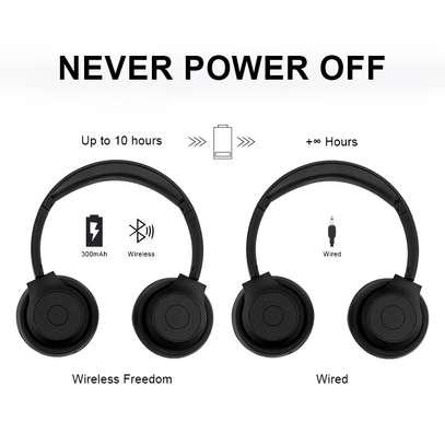 Stereo Wireless Bluetooth Headphones With Mic-Black image 5