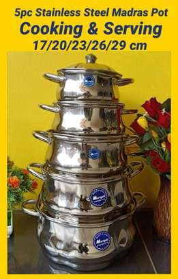5 pc stainless steel madras pot image 1