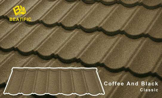 Coffee and Black Classic Stone Coated Metal Roofing Tiles image 2