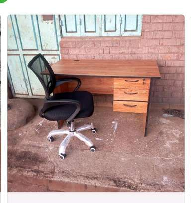 Office laptop desk with a cable hole plus adjustable swivel chair image 1