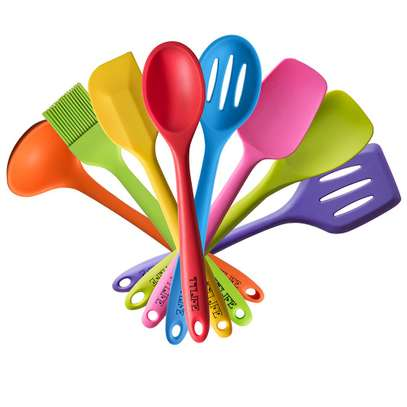 Rainbow colored silicone kitchen spoons set image 1