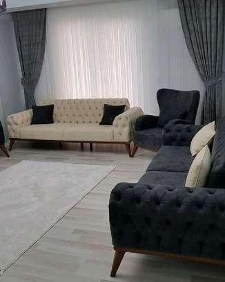 Modern livingroom sofa designs for sale in Nairobi Kenya/complete set of sofas/three seater beige sofa/dark grey chesterfield sofas for sale in Nairobi Kenya image 1