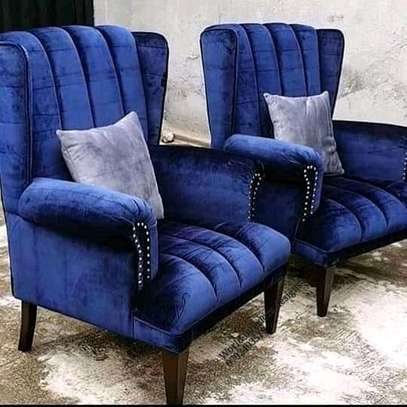 Stylish Modern Channel Tufted Pair of Wingback Chairs image 1