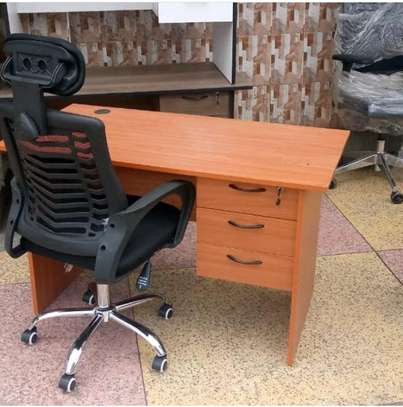 Computer office desk plus an adjustable high back office chair image 1