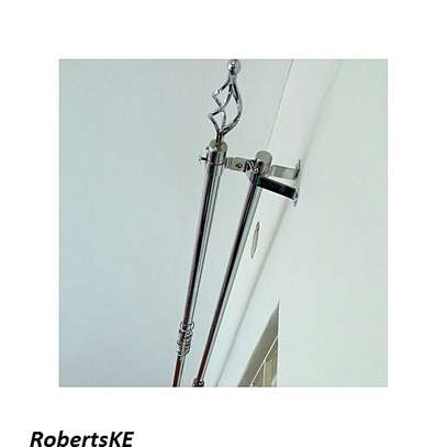 double 2m curtain rods silver image 2