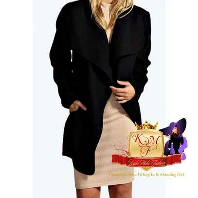 Short Drape Front Wrap Coat image 2