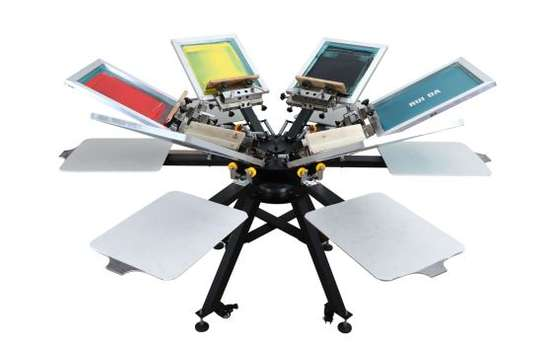 6 Color 6 Station Screen Printing Press Printer Floor Stand Type Double Rotary Silk Screen Printing Machine image 3
