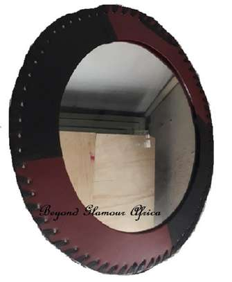 Wall-mounted Leather Round Mirror image 1
