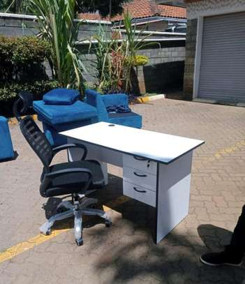 Adjustable high back office chair with atiscratch material and computer desk image 1