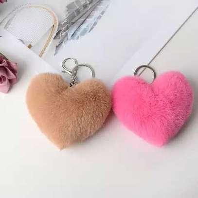 Keychain Faux Fur Pompom Handbag Accessory Car Pendant image 1