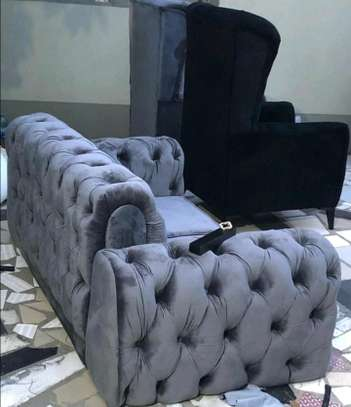 2 SEATER CHESTERFIELD SOFA /GREY CHESTERFIELD SOFA image 1