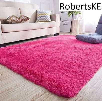 pink fluffy anti-slip carpet 5*8 image 1