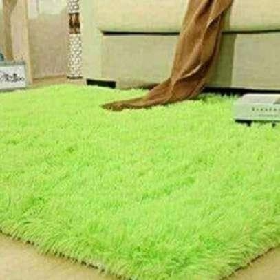 Green Plain Fluffy Carpets- 7*8 image 1