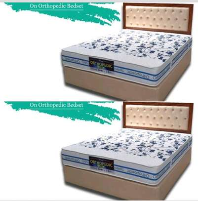 Queen Size 5 by 6 Bed Set: Orthopaedic/Posturepaedic 10 thick Quilted Mattress+Bed+Headboard brand new free delivery image 1