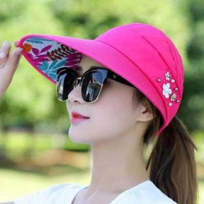 Fashion Sun Hats Women Summer Wide Foldable-black,beige,pink and peach image 1