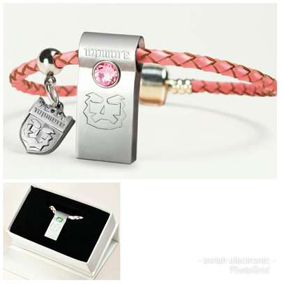 Flash Disk 32GB Swarovski Crystal Blue Chip 10X Faster Decorated with Leather Braided image 1