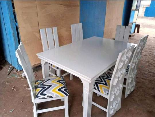 White Mahogany Framed Dining Table Sets. image 1