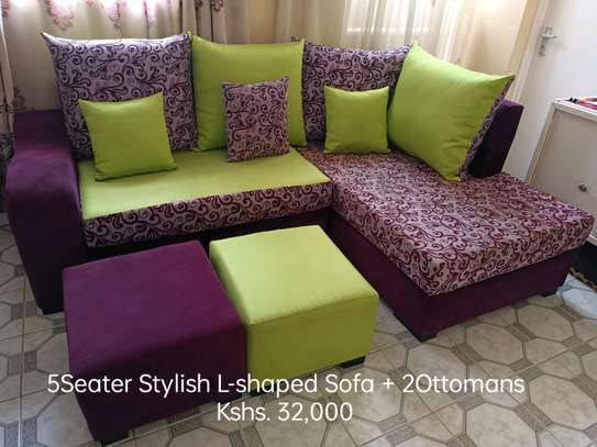 5 Seater Stylish L-shaped Sofa with 2 Ottomans image 1