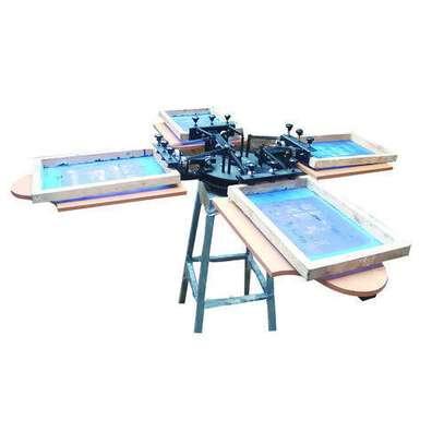4 color 4 station silk screen printing machine t-shirt printer press equipment c image 1