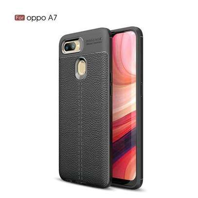 Auto Focus Case Luxury Soft Silicon Litchi Striae Leather Cases For OPPOA7 Case Coque Shock Proof Back Cover (Black) image 1