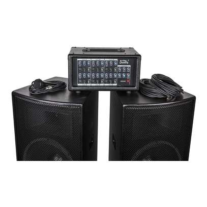 """professional speaker system complete package (2 15""""speakers, 1 6 channel power mixer, 2 microphones, 2 speaker stands and cables) image 4"""