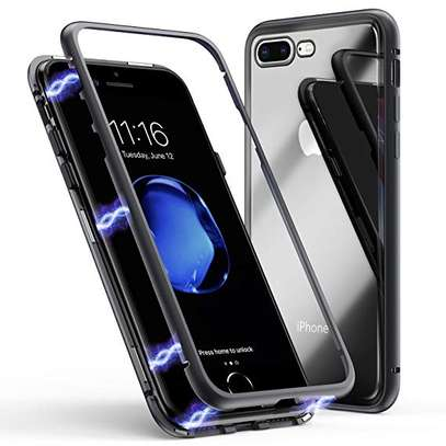 Magnetic Case For iPhone 8 8 Plus With Metal Frame, Glass Back image 1