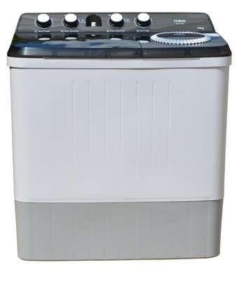 MIKA Washing Machine, Semi-Automatic Top Load, Twin Tub, 10Kg, White & Grey image 1