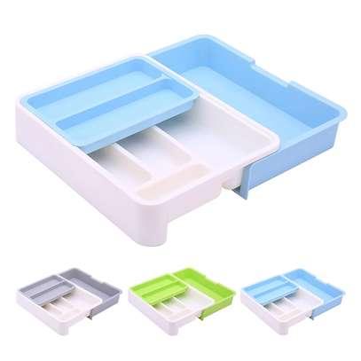 Plastic Expandable Cutlery Tray Drawer Storage Organizer image 1