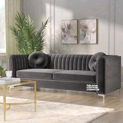 Modern three seater sofas for sale in Nairobi Kenya/grey velvet sofas for sale in Nairobi Kenya image 1