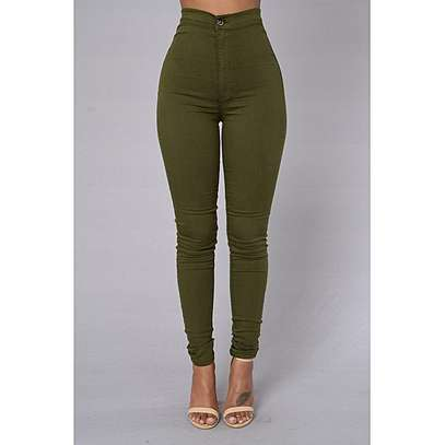 Green High Waist Jeans image 1