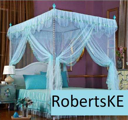 light blue four stand mosquito net image 1